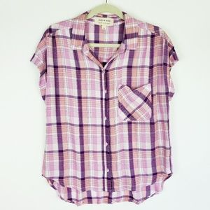 NWOT Cloth & Stone Button Front Plaid Shirt